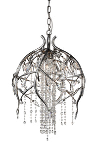 6 Light Down Chandelier with Speckled Nickel finish