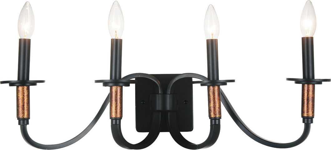 4 Light Vanity Light with Black finish