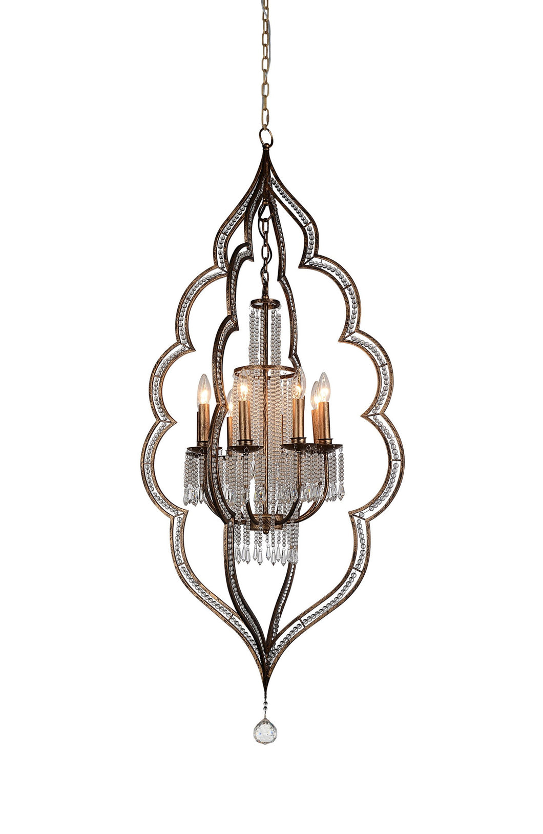 8 Light Up Chandelier with Champagne finish