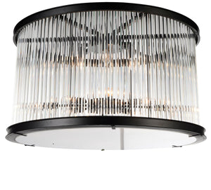 6 Light Cage Flush Mount with Black finish