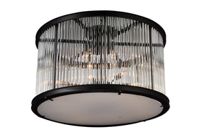 12 Light Cage Flush Mount with Black finish