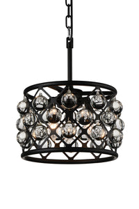 3 Light  Chandelier with Black finish