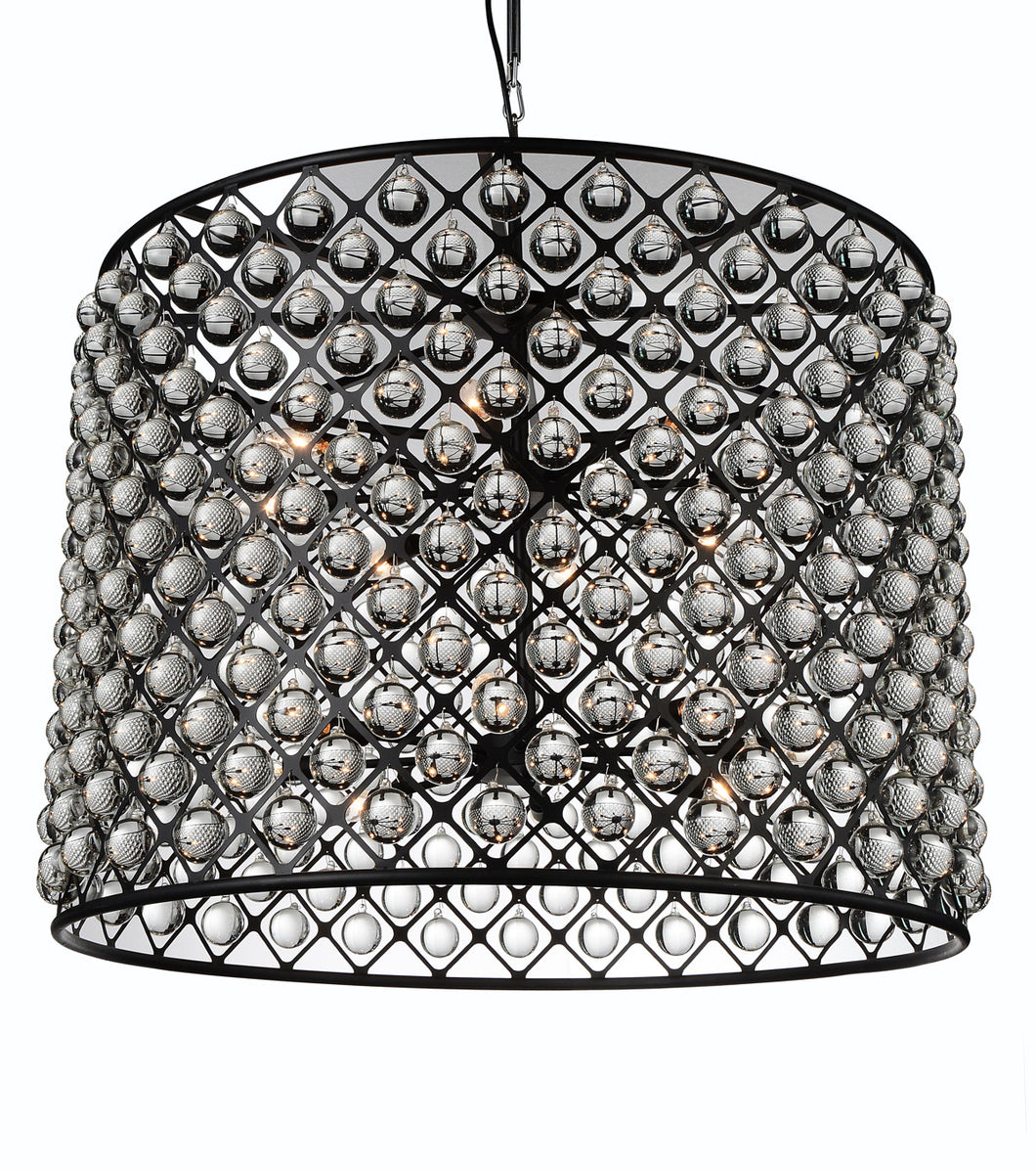 16 Light  Chandelier with Black finish