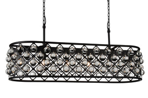 6 Light  Chandelier with Black finish