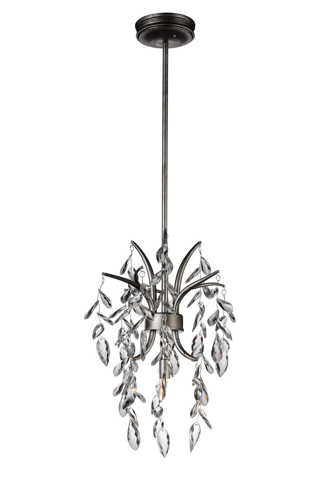 1 Light Down Mini Chandelier with Silver Mist finish