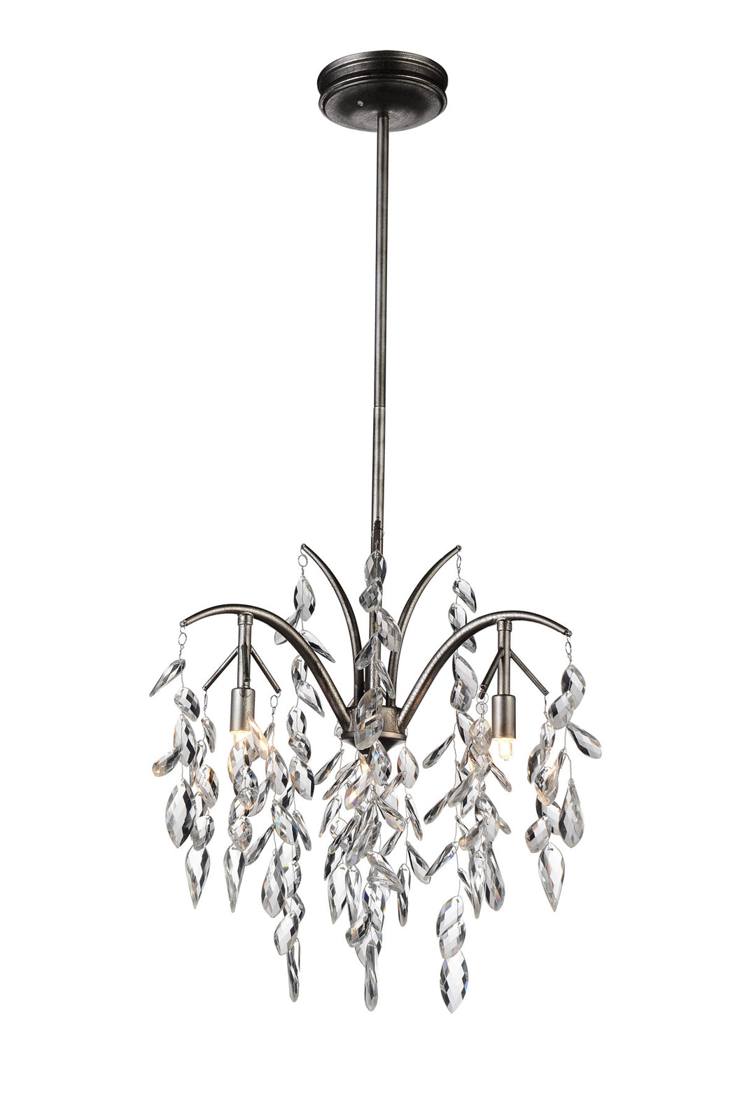 3 Light Down Chandelier with Silver Mist finish