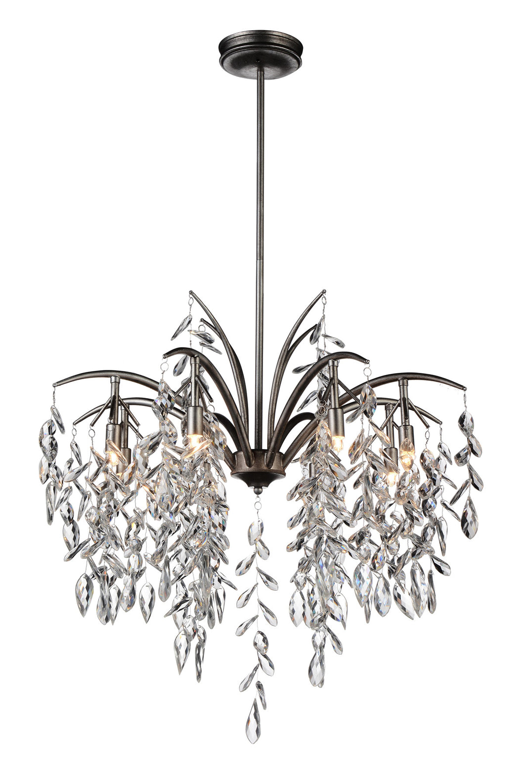 8 Light Down Chandelier with Silver Mist finish