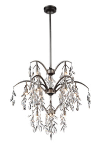 12 Light Down Chandelier with Silver Mist finish