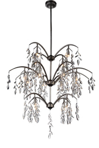 16 Light Down Chandelier with Silver Mist finish