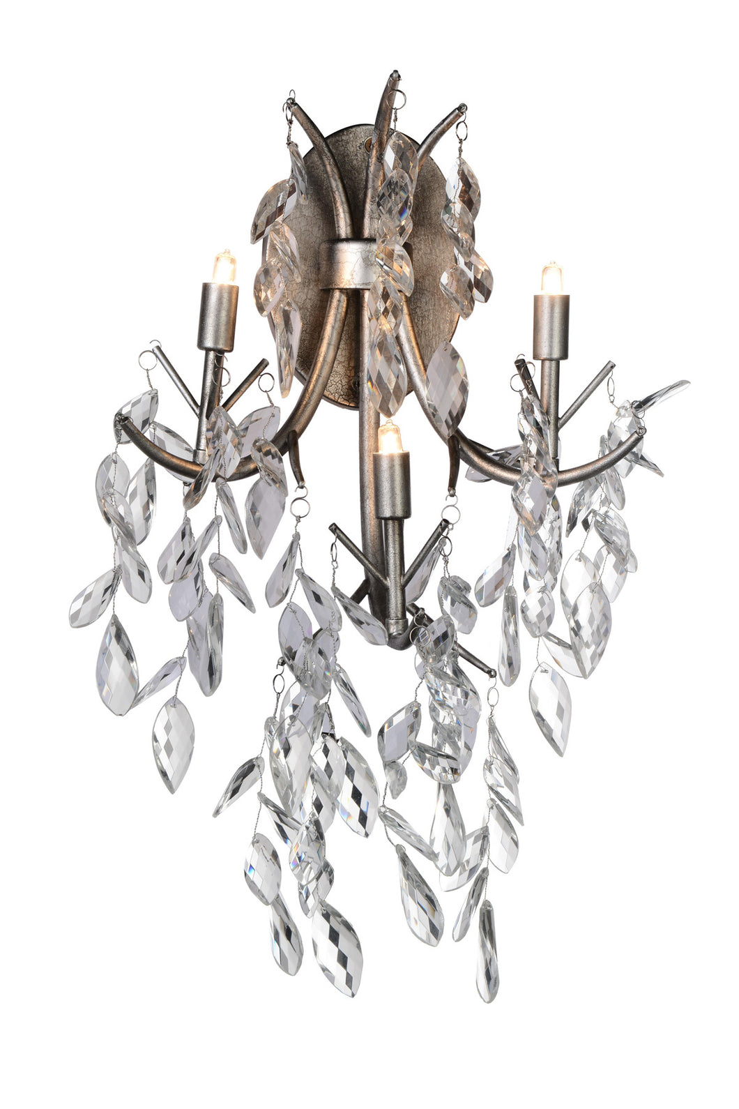 3 Light Wall Sconce with Silver Mist finish