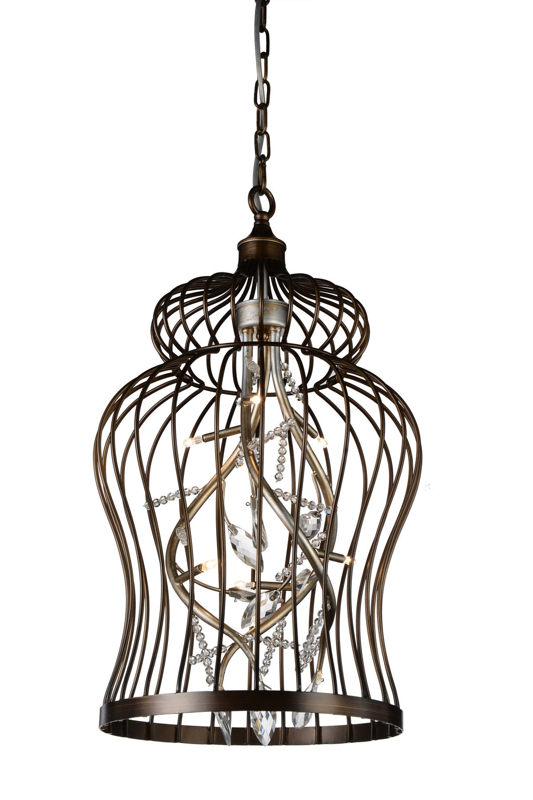 6 Light Down Chandelier with Antique Gold finish