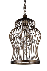 9 Light Down Chandelier with Antique Gold finish