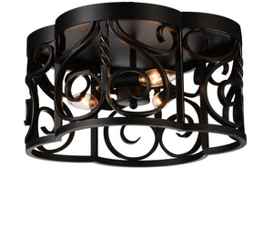 3 Light Cage Flush Mount with Autumn Bronze finish