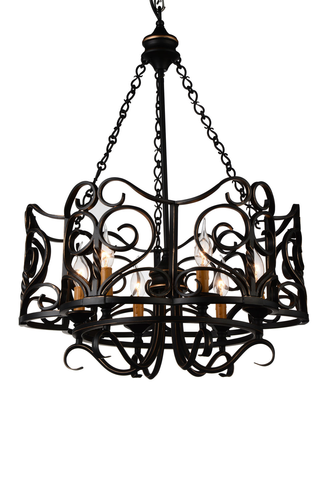 6 Light Up Chandelier with Autumn Bronze finish