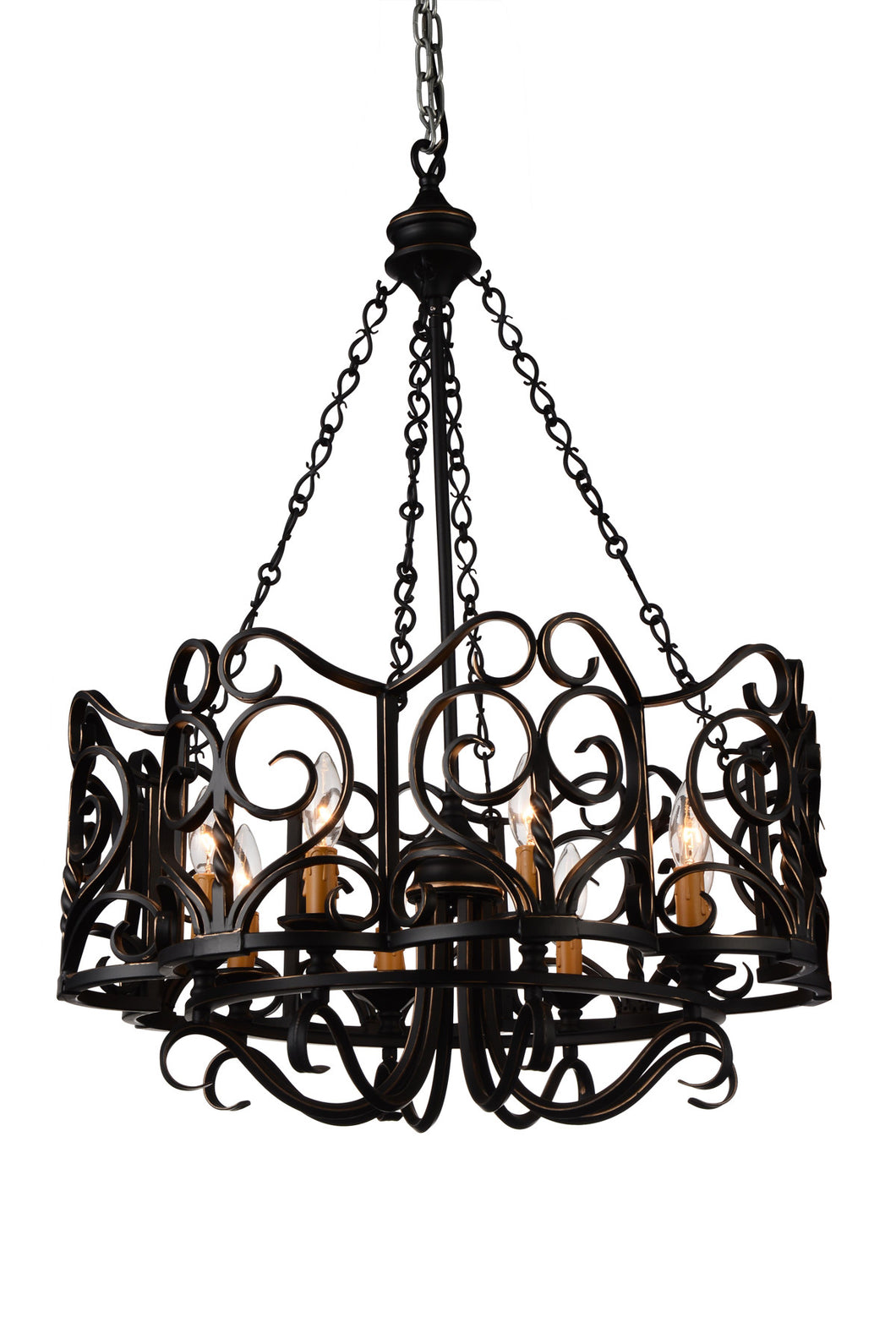 8 Light Up Chandelier with Autumn Bronze finish
