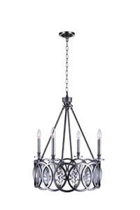 4 Light Candle Chandelier with Gun Metal finish