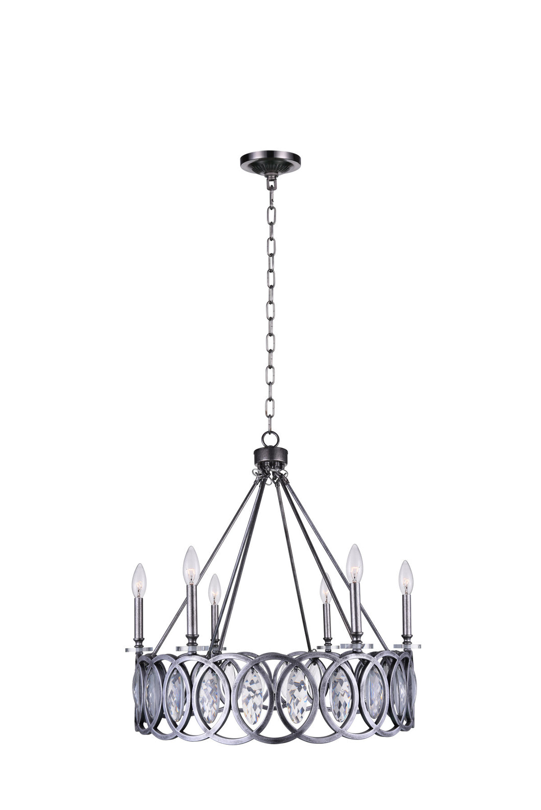 6 Light Candle Chandelier with Gun Metal finish