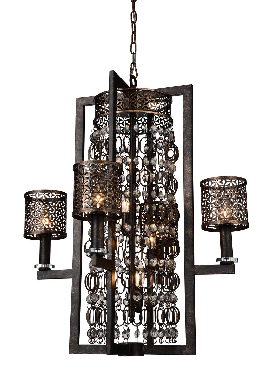 8 Light Up Chandelier with Golden Bronze finish