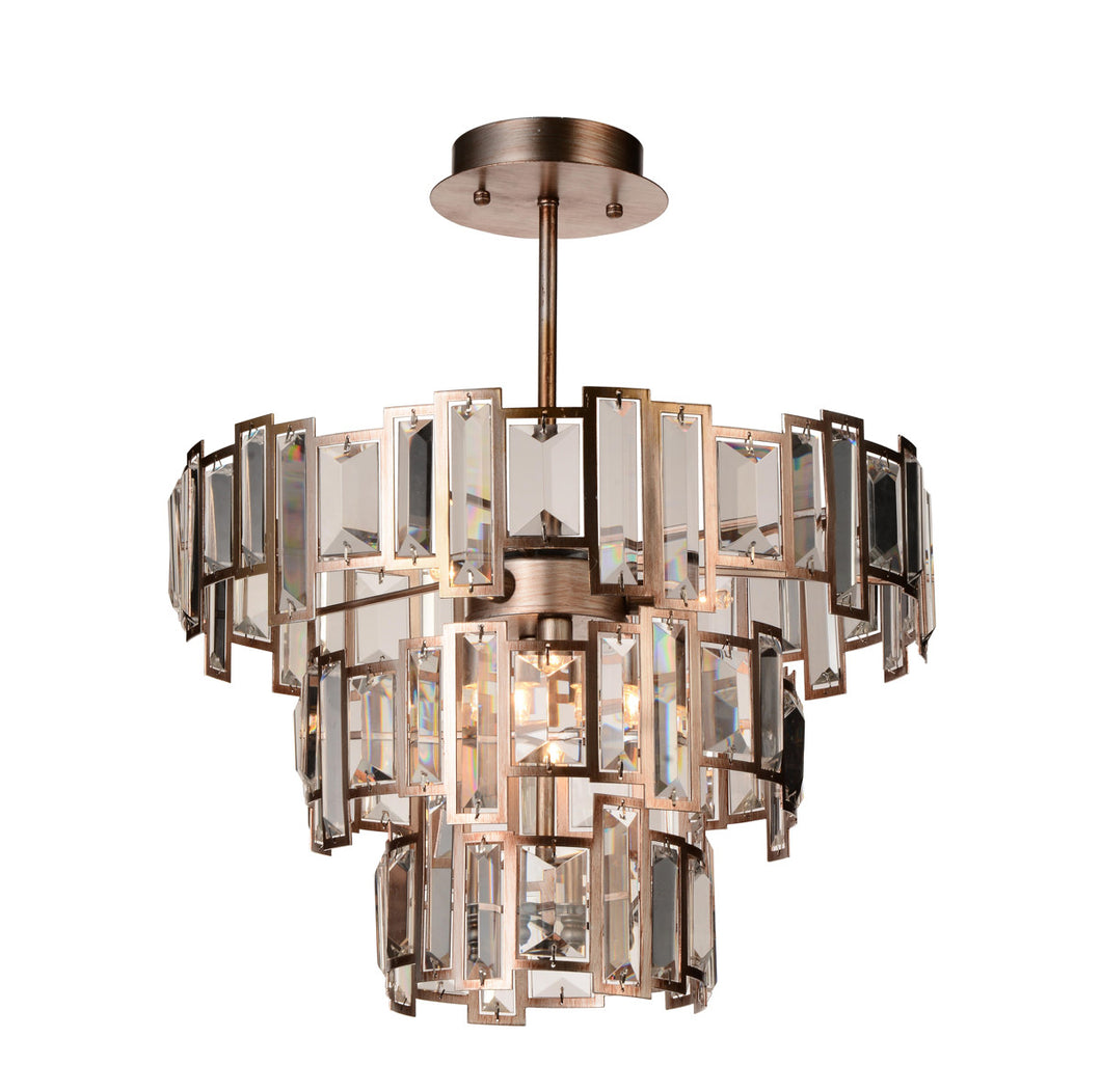 5 Light Down Chandelier with Champagne finish