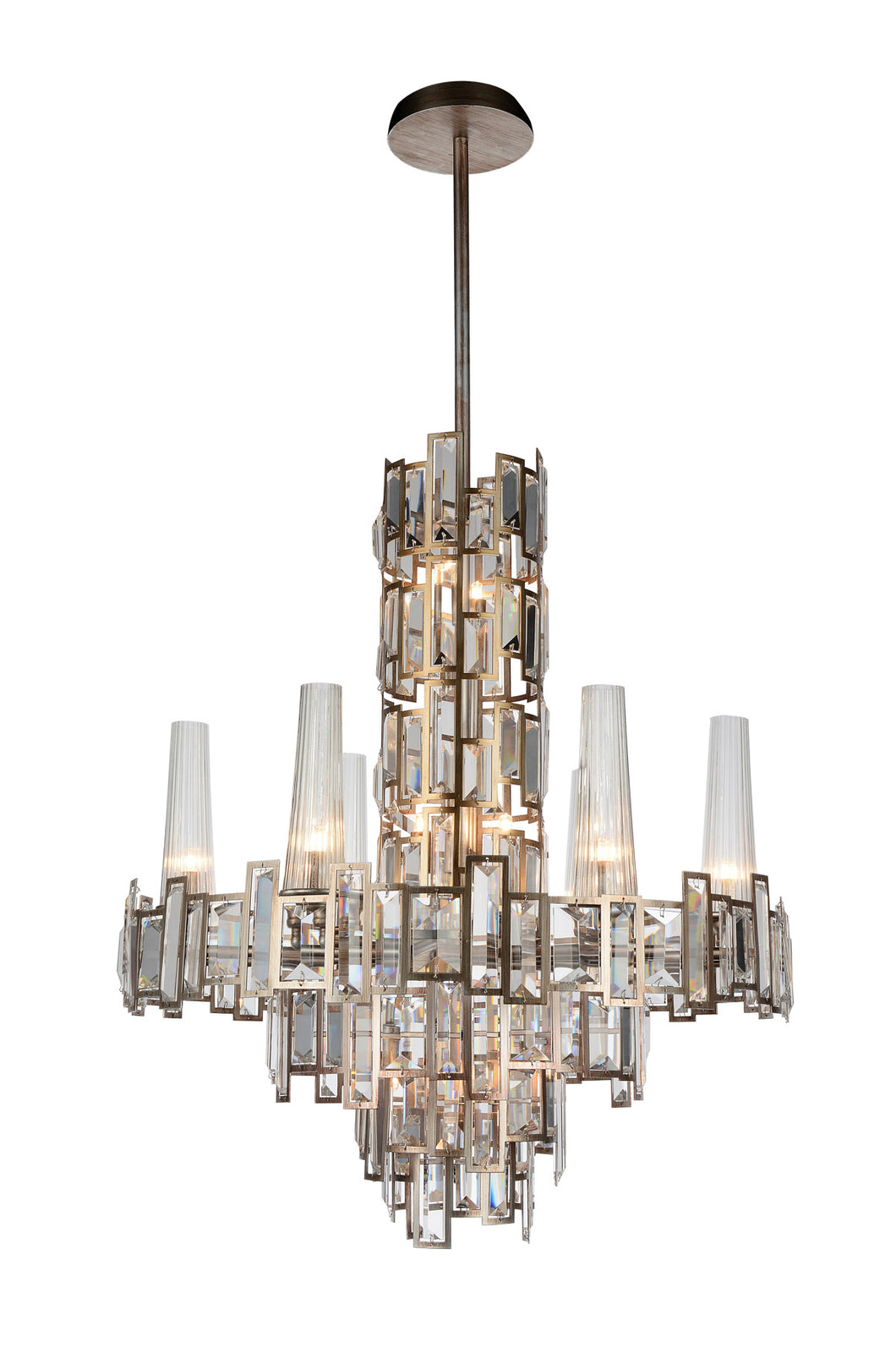 12 Light Down Chandelier with Champagne finish