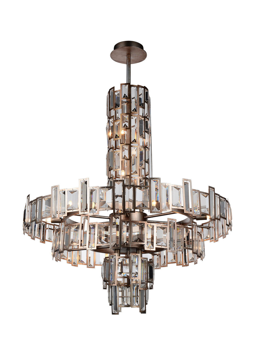 18 Light Down Chandelier with Champagne finish