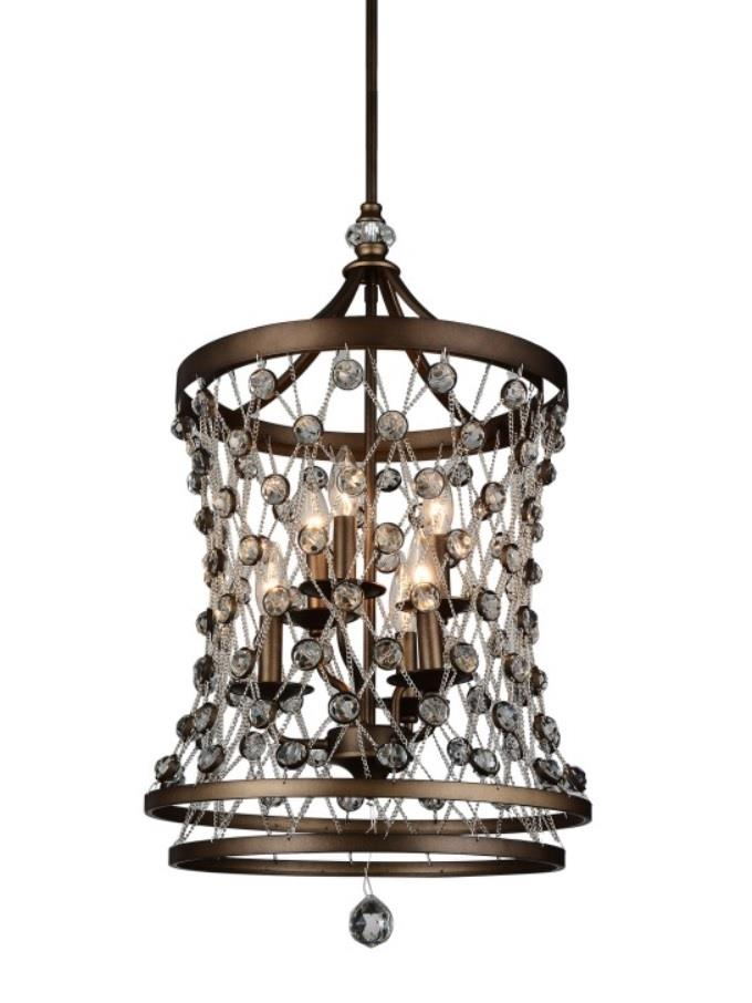 6 Light Up Chandelier with Speckled Bronze finish