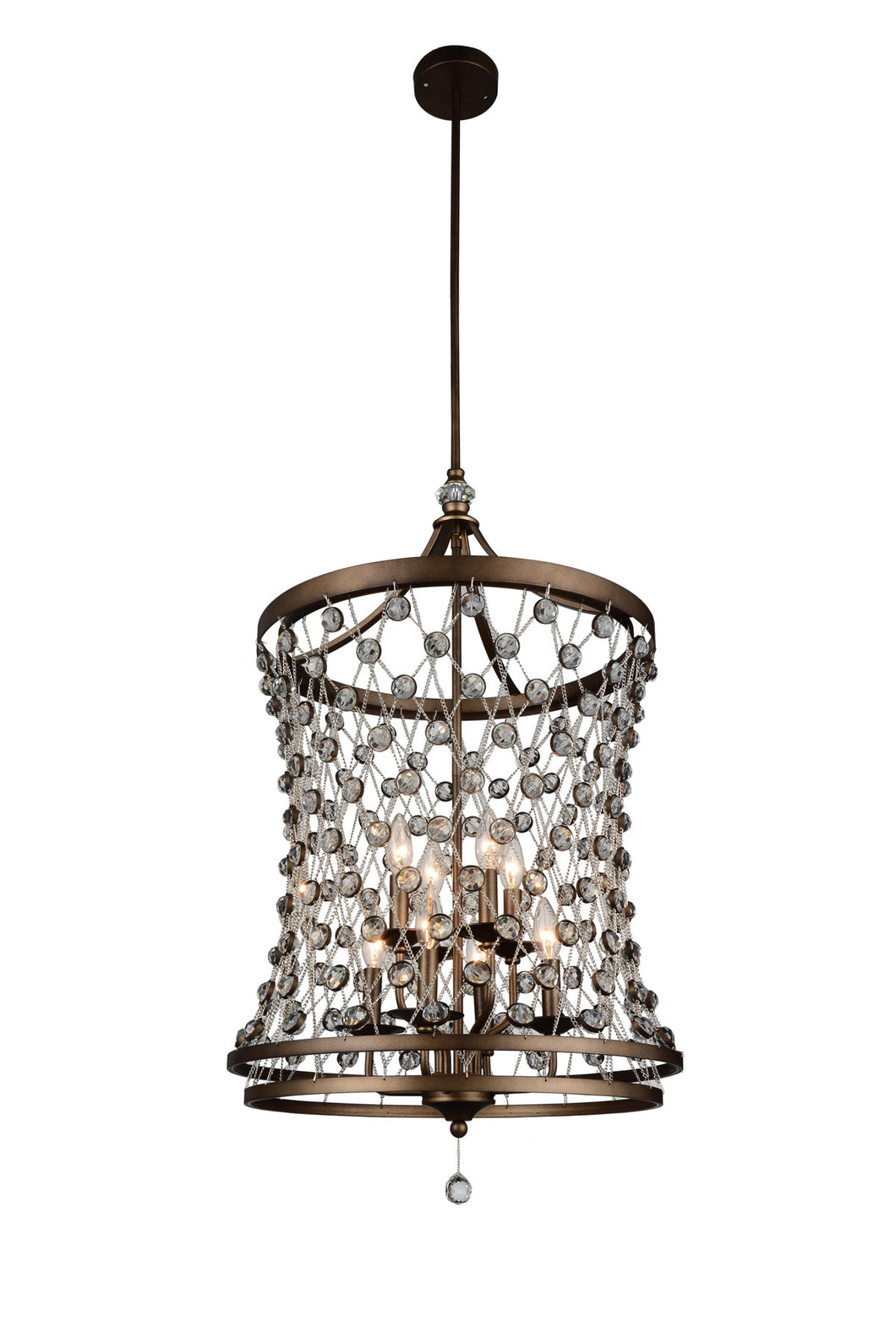 8 Light Up Chandelier with Speckled Bronze finish