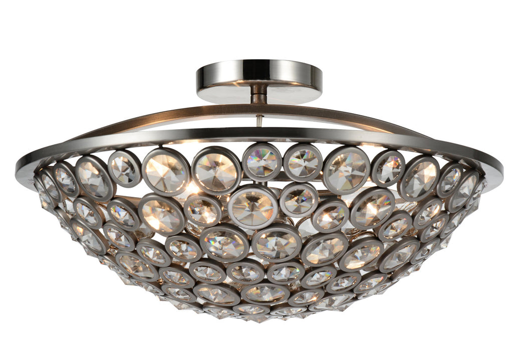 3 Light Bowl Flush Mount with Satin Nickel finish