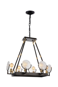 6 Light Up Chandelier with Brown finish