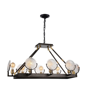8 Light Up Chandelier with Brown finish