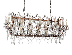 24 Light Up Chandelier with Light Brown finish