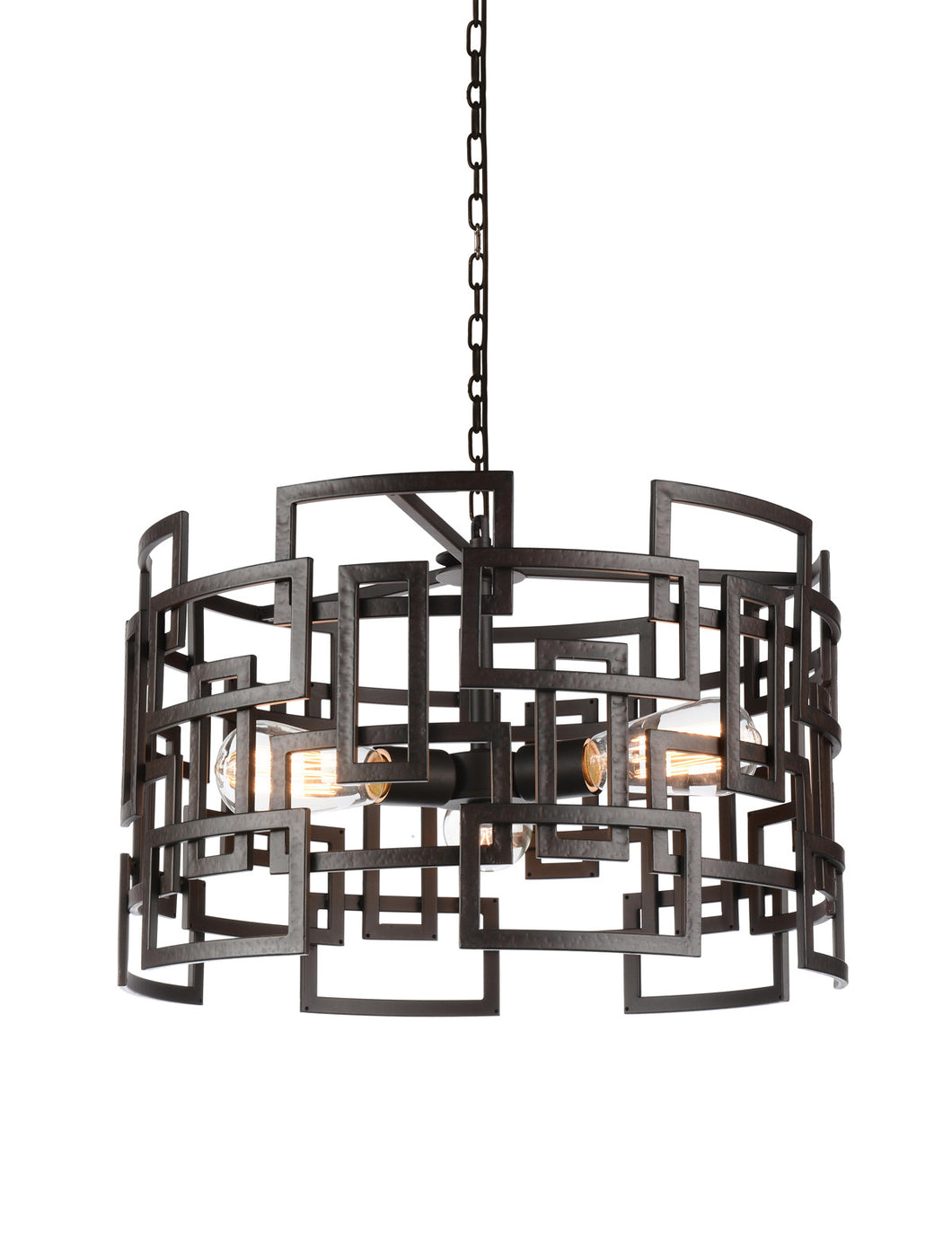3 Light Down Chandelier with Brown finish