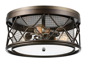 3 Light Cage Flush Mount with Light Brown finish