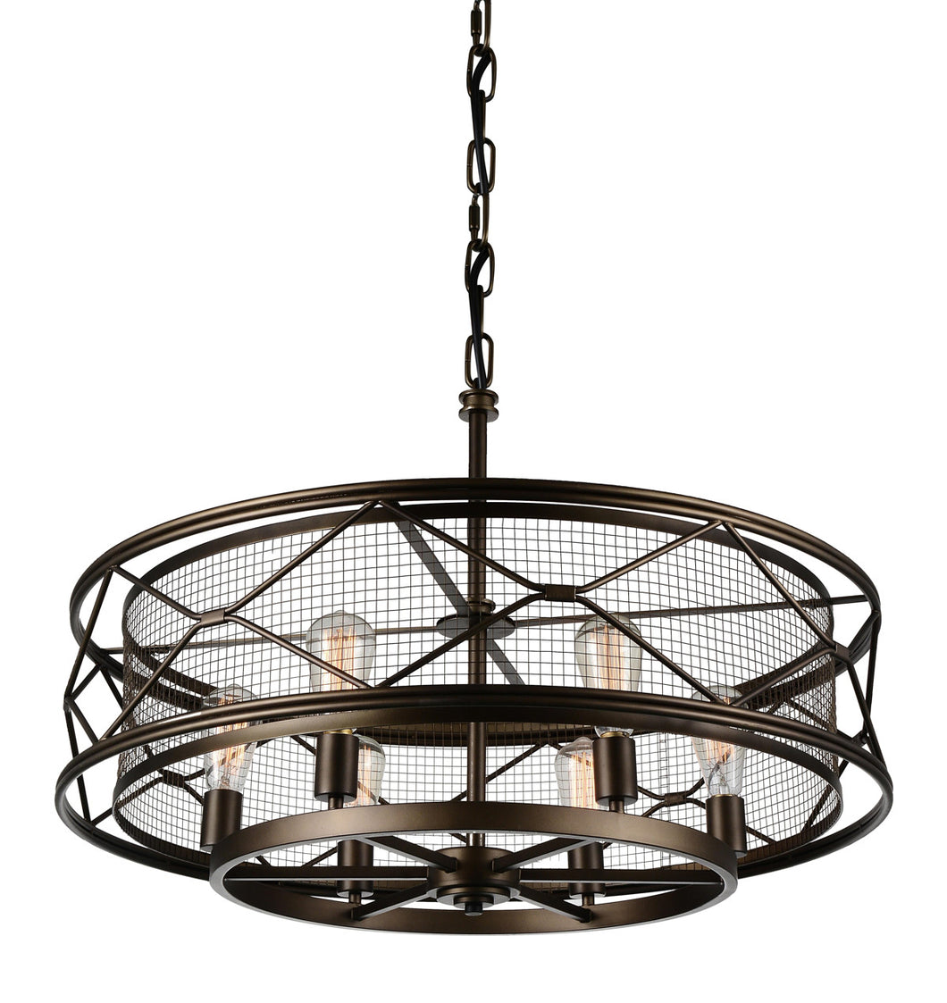 6 Light Up Chandelier with Light Brown finish