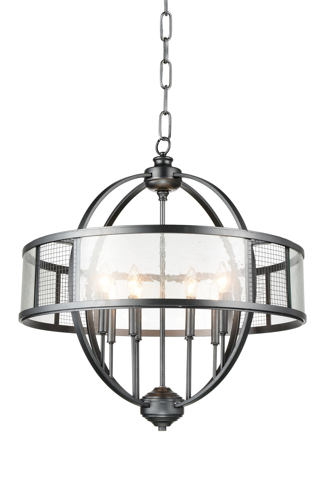 8 Light Up Chandelier with Gray finish