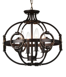 4 Light Up Chandelier with Brushed Golden Brown finish