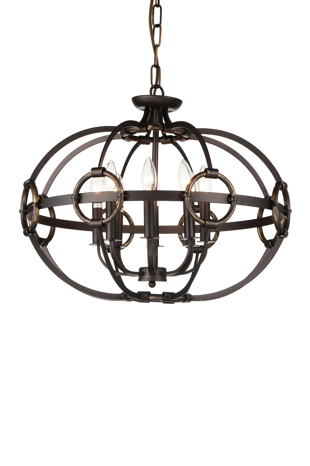 8 Light Up Chandelier with Brushed Golden Brown finish
