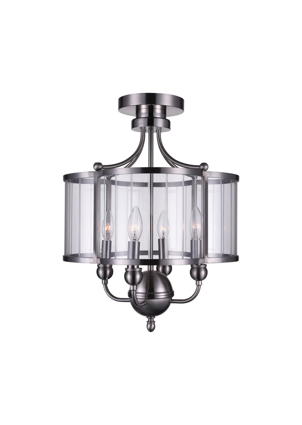 4 Light Drum Shade Semi-Flush Mount with Satin Nickel finish