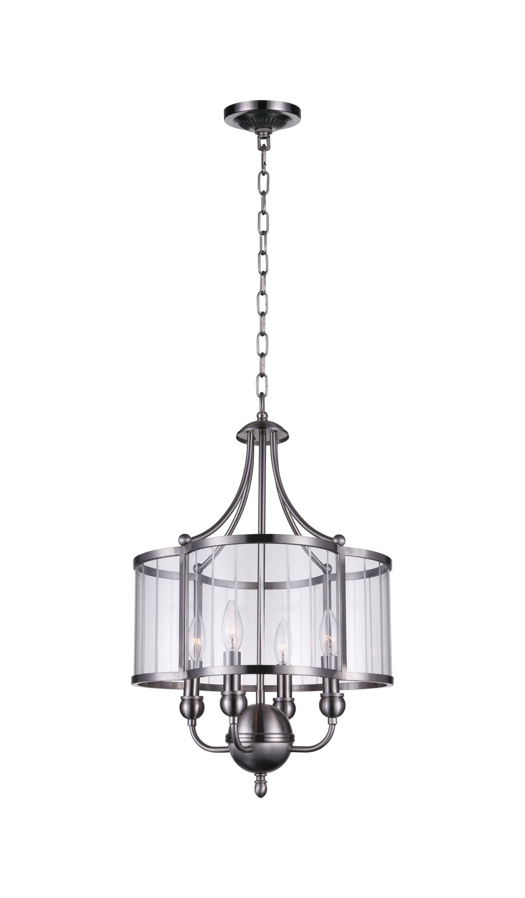 4 Light Drum Shade Pendant with Satin Nickel finish