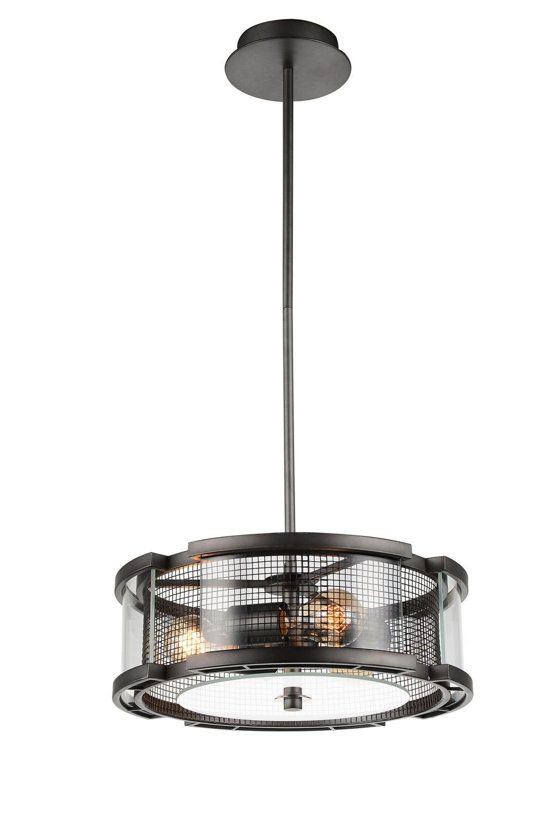 3 Light  Chandelier with Black Silver finish