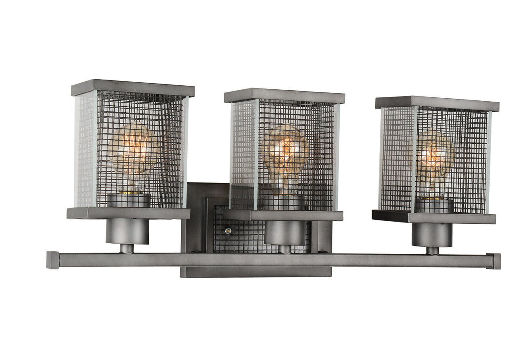 3 Light Wall Sconce with Black Silver finish