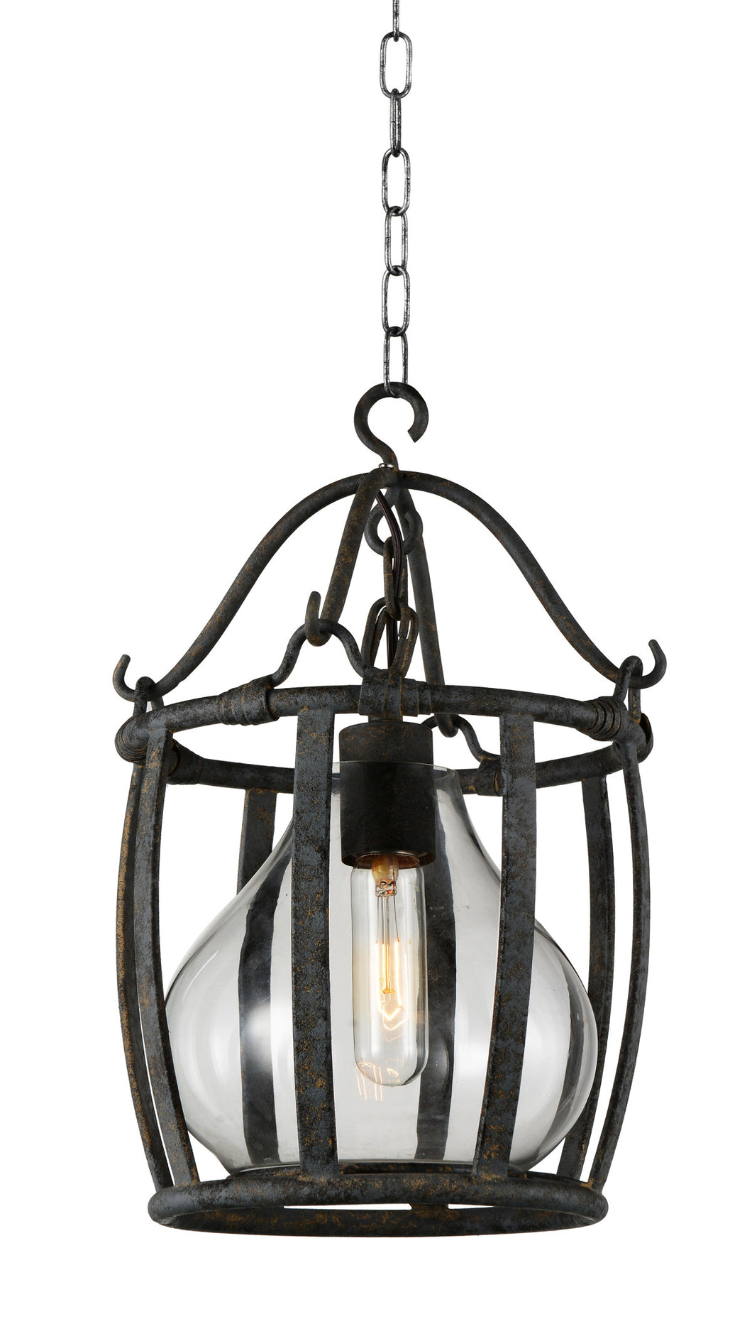 1 Light Down Pendant with Antique Black finish