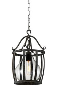 1 Light Down Mini Pendant with Antique Black finish