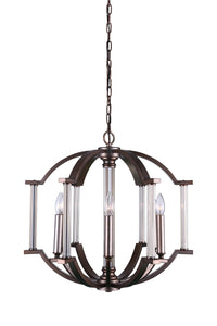 6 Light Candle Chandelier with Brownish Silver finish