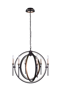 6 Light Candle Chandelier with Golden Brown finish