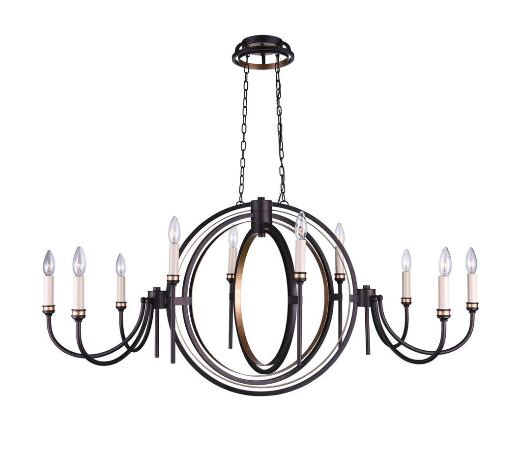10 Light Candle Chandelier with Golden Brown finish