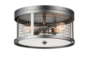 3 Light  Flush Mount with Pewter finish