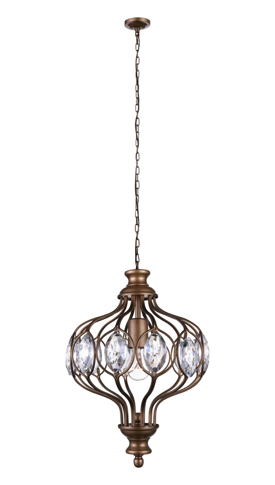 1 Light  Chandelier with Antique Bronze finish