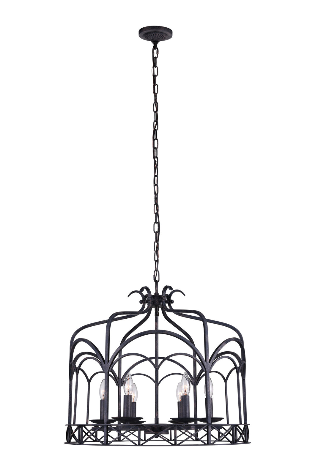 6 Light Up Chandelier with Grayish Brown finish