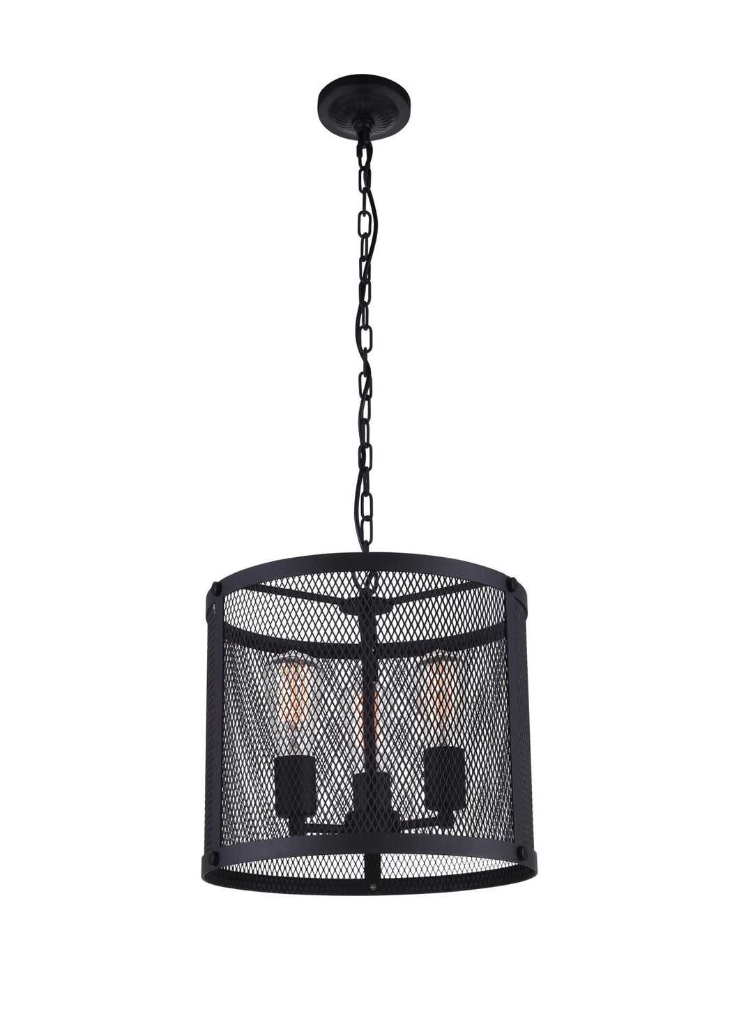 3 Light Drum Shade Pendant with Reddish Black finish
